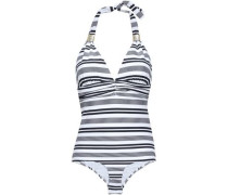 Ruched Striped Cloqué Triangle Swimsuit White