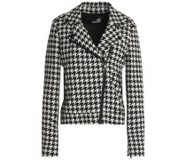 Houndstooth cotton and wool-blend jacket
