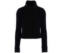 Metallic Knitted Turtleneck Sweater Black