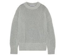 Open-knit Cashmere Sweater Gray
