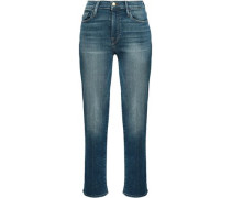 Cropped Faded High-rise Slim-leg Jeans Mid Denim  4