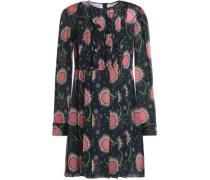 Pintucked printed silk-georgette mini dress