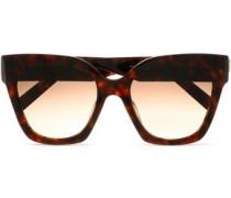 Square-frame tortoiseshell acetate and gold-tone sunglasses