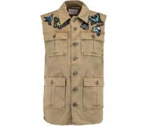 Distressed denim cotton-twill appliquéd vest