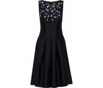 Pleated embellished wool and silk-blend satin dress