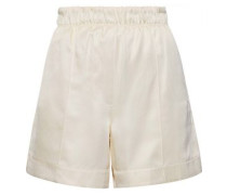 Silk And Tencel-blend Twill Shorts Ecru
