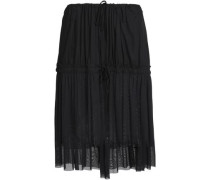 Paneled Tulle And Crepe Skirt Black