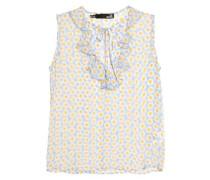 Ruffled floral-print chiffon blouse