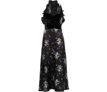Satin, Organza And Velvet Midi Dress Black