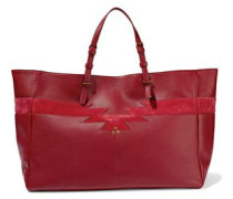 Suede-paneled leather tote
