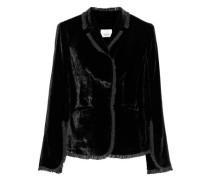 Rowland ruffled chiffon-trimmed velvet jacket
