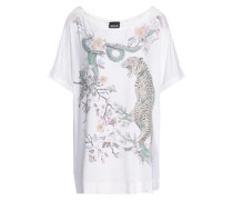 Floral-appliquéd Printed Stretch-jersey T-shirt White