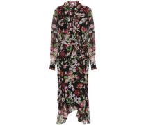 Palo Ruffle-trimmed Floral-print Silk-chiffon Midi Dress Black
