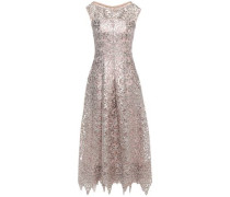 Woman Sequin-embellished Metallic Guipure Lace Midi Dress Neutral