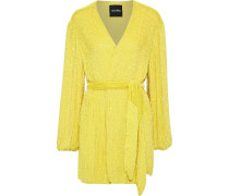 Woman Sequined Georgette Mini Wrap Dress Yellow
