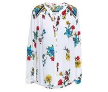 Floral-print Silk Crepe De Chine Shirt White