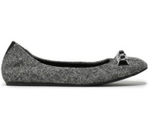 Appliquéd Wool-tweed Ballet Flats Black