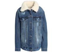 Faux shearling-trimmed distressed denim jacket