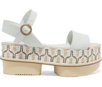 Ramira leather and woven raffia platform sandals