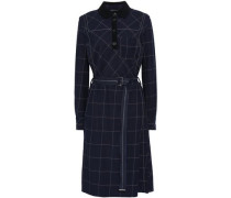 Woman Belted Checked Woven Dress Navy