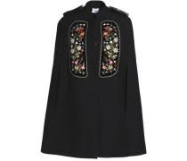 Embellished velvet-appliquéd gabardine cape