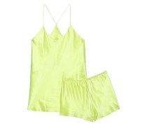 Bella Silk-satin Pajama Set Chartreuse Size 1