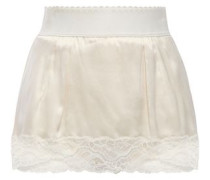 Layered Lace-trimmed Satin High-rise Briefs White