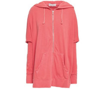 Oversized Zip-detailed Cotton-terry Hooded Jacket Coral