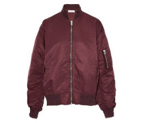 Distressed ruched shell bomber jacket