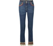 Cropped Embellished High-rise Skinny Jeans Dark Denim