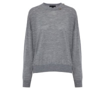 Cutout Embellished Merino Wool Sweater Gray
