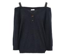 Cold-shoulder Embellished Cashmere Top Charcoal