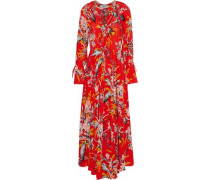 Pleated Floral-print Silk Maxi Dress Papaya
