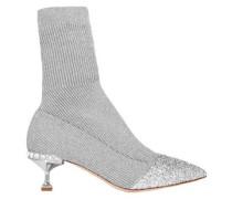 Woman Glittered Metallic Ribbed-knit Sock Boots Silver