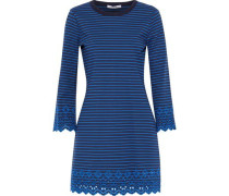 Broderie Anglaise-trimmed Striped Jersey Mini Dress Navy
