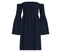 Off-the-shoulder shirred cotton-blend poplin dress