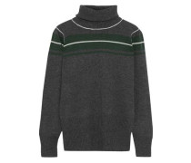 Satyr Striped Wool And Cashmere-blend Turtleneck Sweater Charcoal