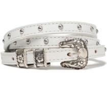 Stud-embellished leather belt