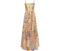 Pleated floral-print cotton-blend gauze maxi dress