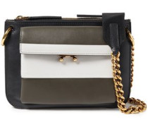 Woman Chain-trimmed Color-block Leather Shoulder Bag Black