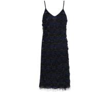 Fringe-trimmed beaded tulle mini dress