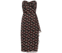 Strapless Draped Printed Georgette Dress Black