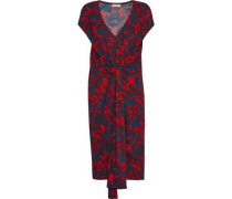 Quinnas Tie-front Printed Jersey Dress Red