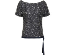 Lace-up Embellished Tulle Top Midnight Blue Size 14