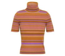 Striped ribbed merino wool-blend turtleneck top