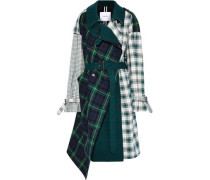 Asymmetric Paneled Checked Cotton-twill Trench Coat Green