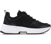 Woman Lizard-effect Leather, Suede And Metallic Knitted Sneakers Black