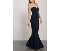 Woman Dahlia Strapless Fluted Crepe Gown Navy