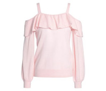 Delbin Cold-shoulder Ruffled Cashmere Sweater Pastel Pink