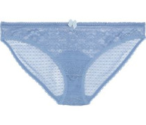 Bow-embellished Lace Low-rise Briefs Light Blue